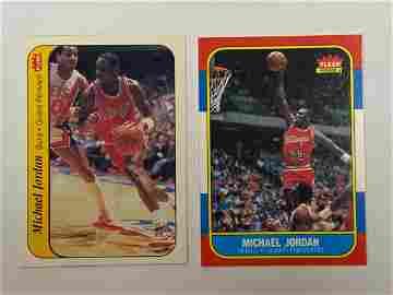 1986 Fleer #57 Michael Jordan RC and Sticker RC