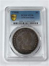 1799/8 PCGS VF30 DRAPED BUST