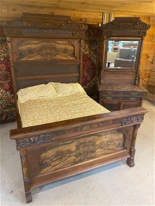 VICTORIAN WALNUT AND BURL WALNUT BED AND WASHSTAND