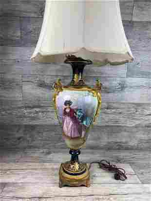 19TH C HANDPAINTED AND SIGNED SEVRES PORCELAIN LAMP