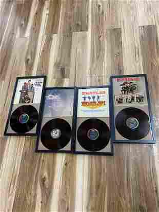 Lot of 4 Framed Beatles Vinyl Records