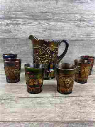 NORTHWOOD GRAPE AND CABLE WATER PITCHER SET