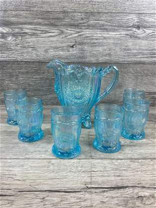IRIDESCENT LIGHT BLUE DAISY PATTERN WATER PITCHER SET
