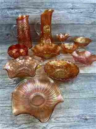 11 PIECE CARNIVAL GLASS LOT