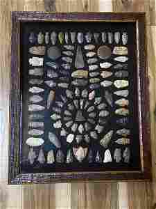 OAK FRAMED ARROWHEAD AND ARTIFACT COLLECTION