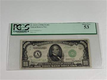PCGS 1934A $1000.00 FEDERAL RESERVE NOTE- ABOUT NEW 53