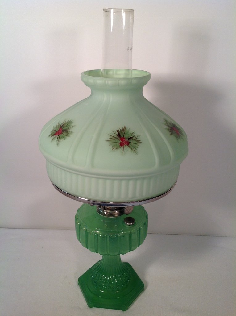 1934 Aladdin Green Cathedral Oil Lamp