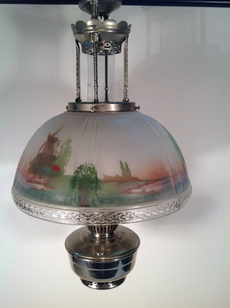 Aladdin Hanging Oil Lamp w/Reverse Painted Glass Shade