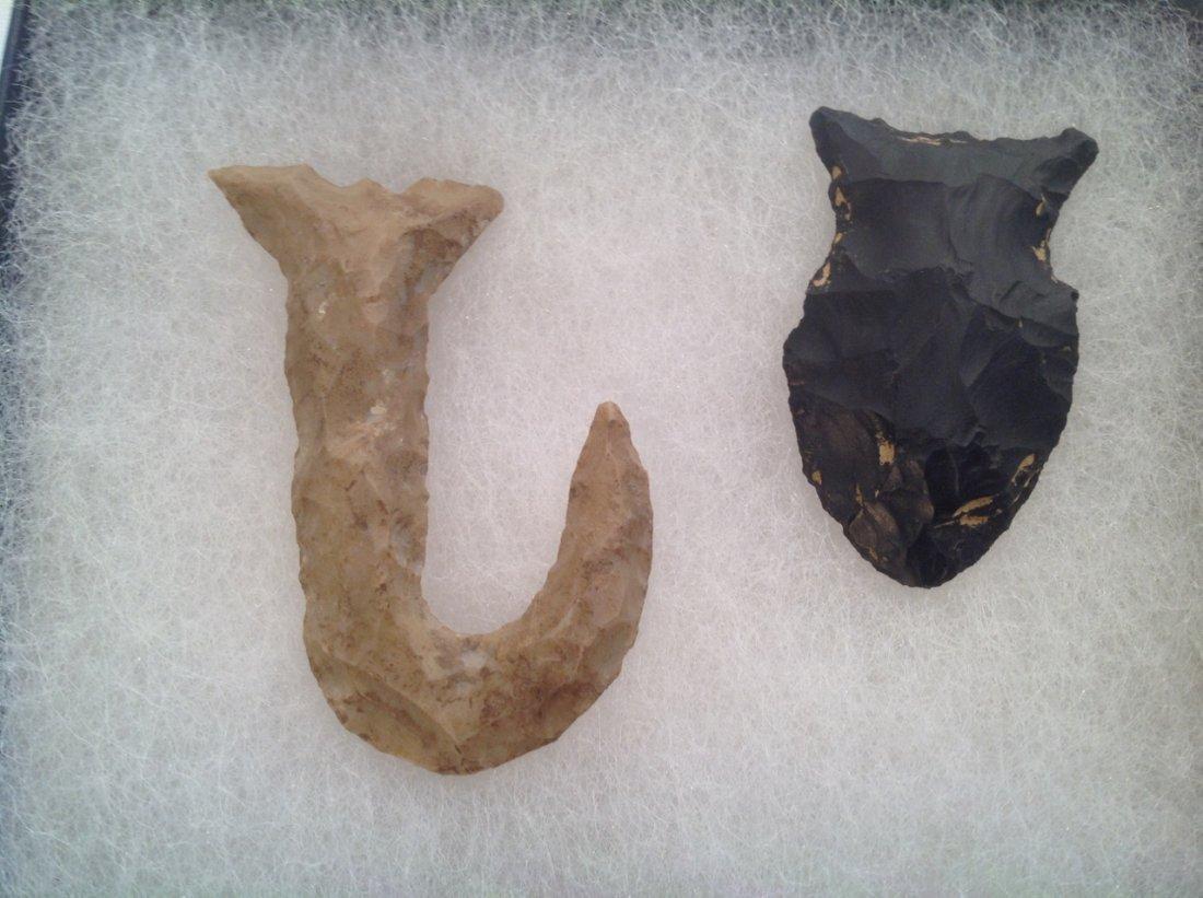 American Indian Fishhook & Arrowhead - Lot of 2 Pieces - 2