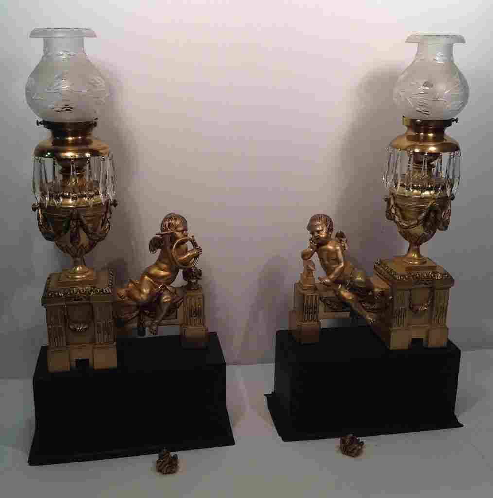 Pair of Early French Gilt Bronze Cherub Andirons Lamps
