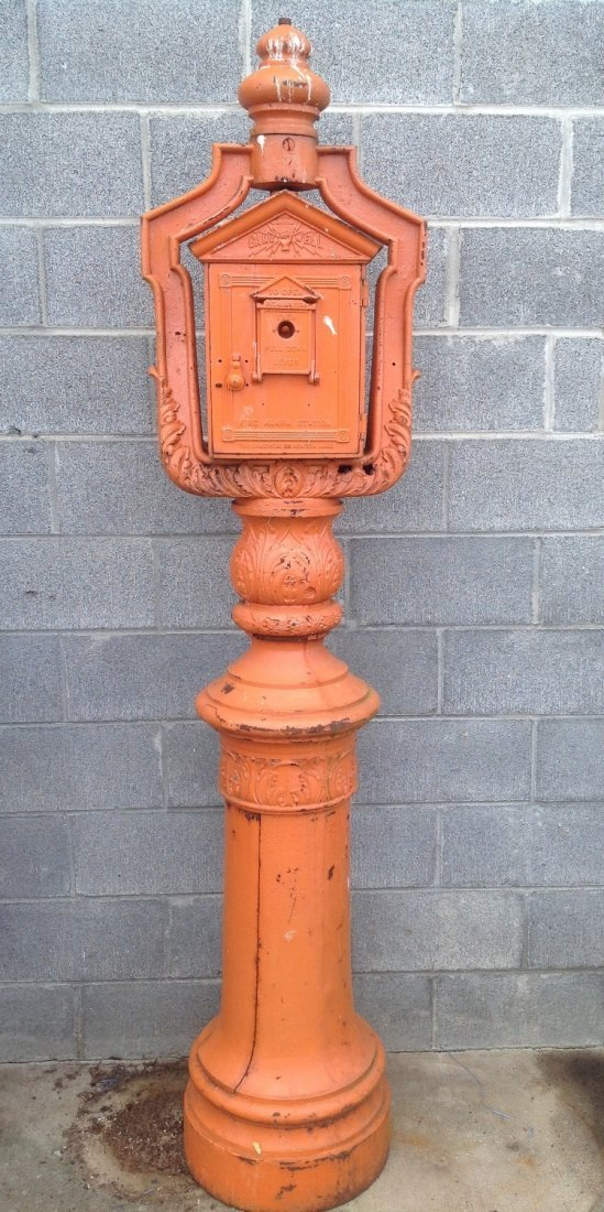 Vintage Cast Iron Gamewell Fire Alarm Station & Stand