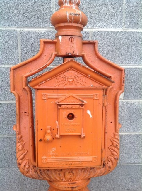 Vintage Cast Iron Gamewell Fire Alarm Station & Stand - 2