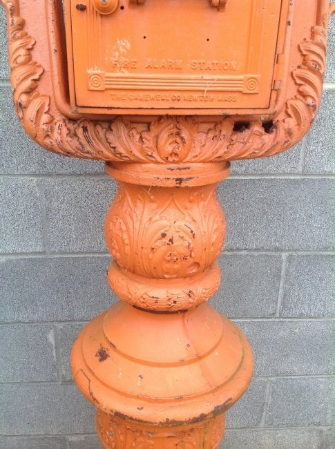 Vintage Cast Iron Gamewell Fire Alarm Station & Stand - 3