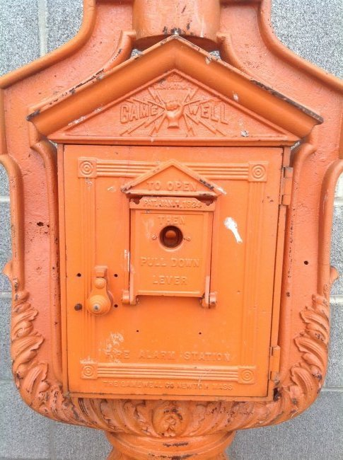 Vintage Cast Iron Gamewell Fire Alarm Station & Stand - 5