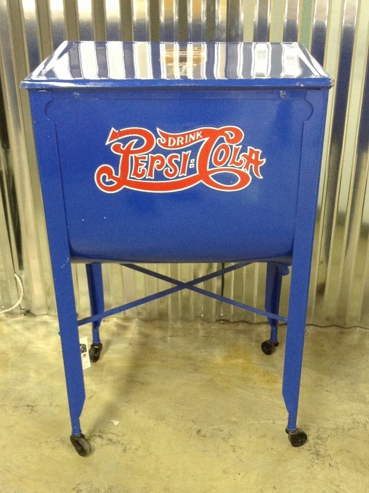 Restored Washtub Converted to Cooler w/Pepsi Decals - 5