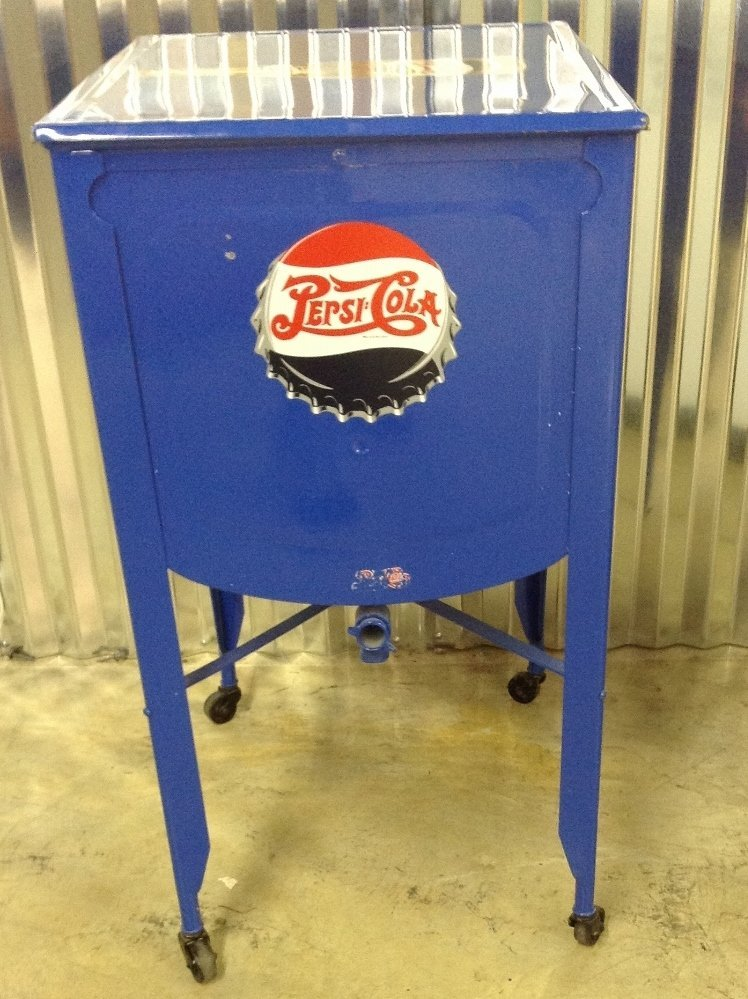 Restored Washtub Converted to Cooler w/Pepsi Decals - 6