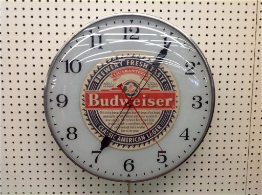1971 PAM Lighted Wall Clock with Budweiser Decal