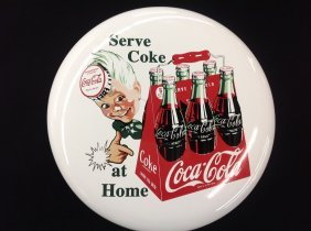 "N.o.s. Porcelain 16"" Sprite Boy Coca-cola Button"