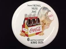 "N.O.S. Porcelain 16"" Sprite Boy Coca-Cola Button"