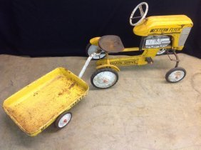 1950's/60's Western Flyer Pedal Tractor W/trailer