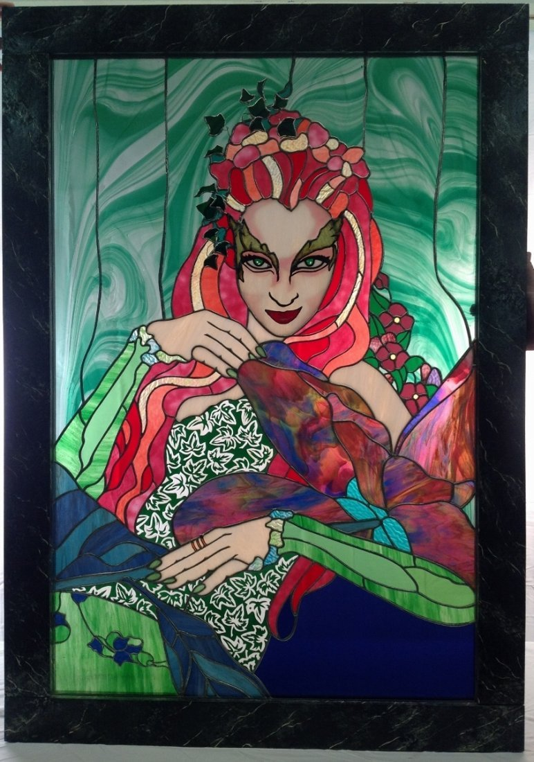 "Uma Thurman ""Poison Ivy"" Stained Glass"
