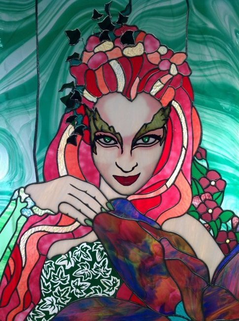 "Uma Thurman ""Poison Ivy"" Stained Glass - 2"