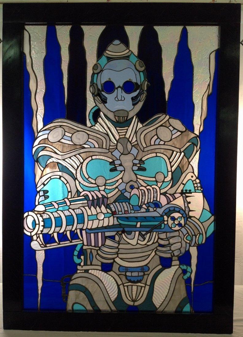 "Arnold Schwarzenegger ""Mr. Freeze"" Stained Glass"