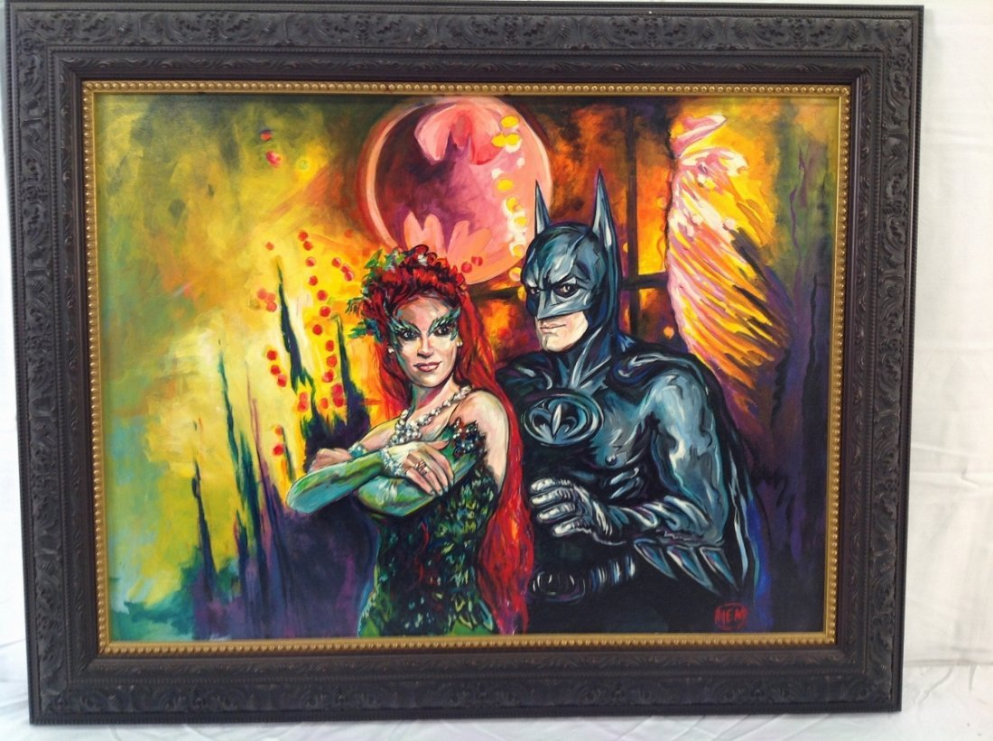 """""""Batman and Poison Ivy"""" Painting"""