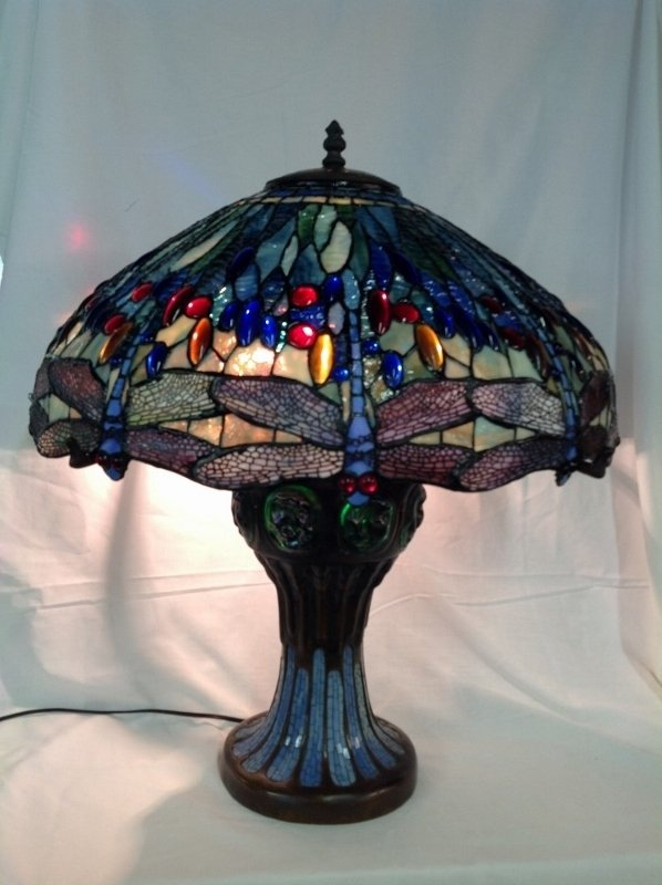 Large Tiffany Style Leaded Glass Turtle Back Lamp