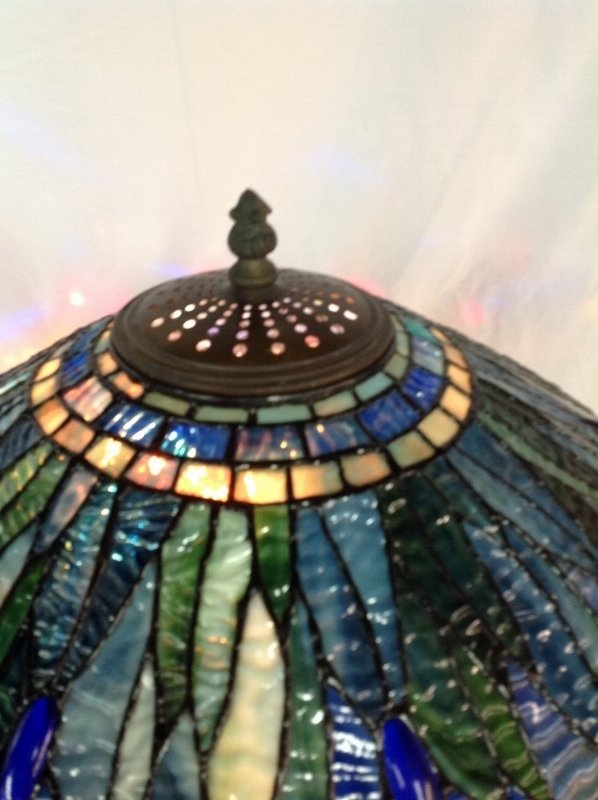 Large Tiffany Style Leaded Glass Turtle Back Lamp - 3