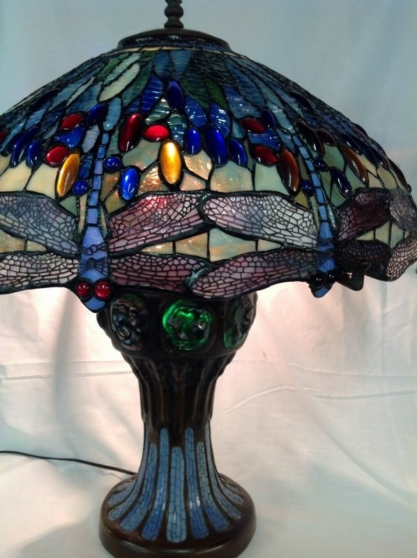 Large Tiffany Style Leaded Glass Turtle Back Lamp - 4