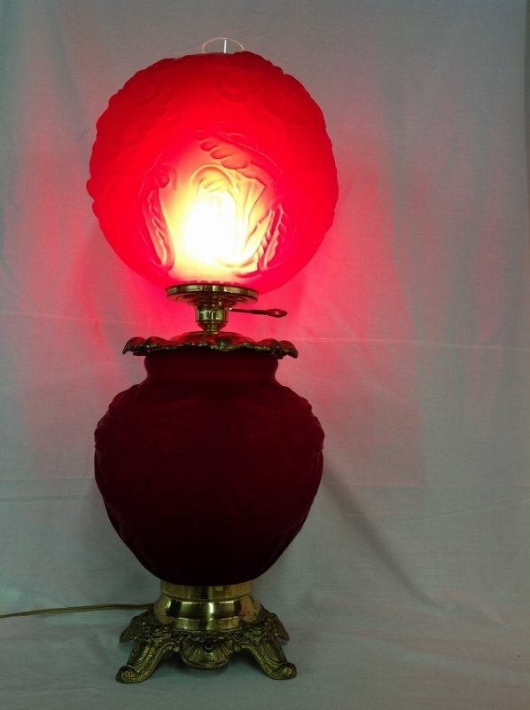 Old Fenton Ruby Red Satin Gone With The Wind Lamp - 4