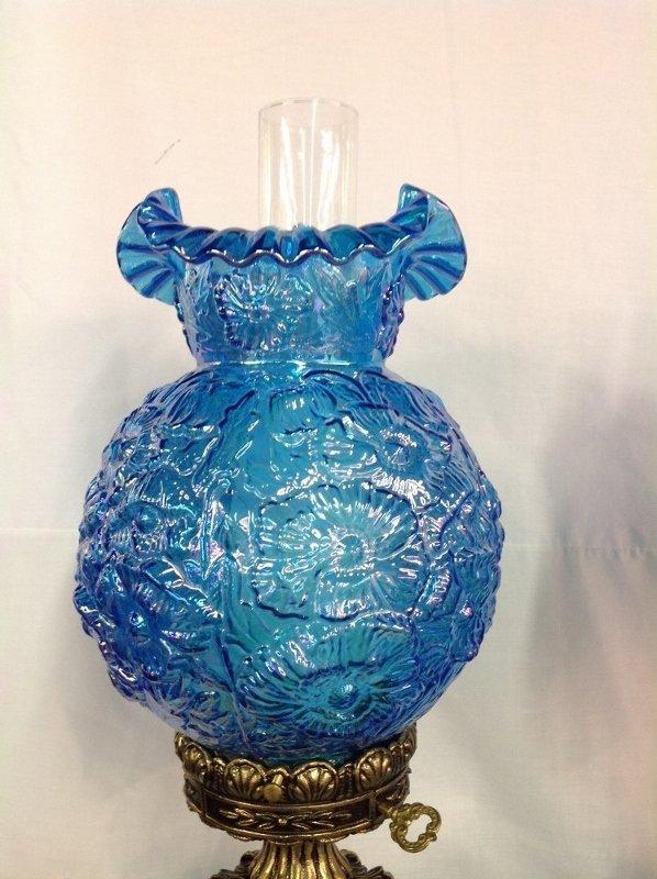Pair of Fenton Ice Blue Poppy Iridescent Hurricane Lamp - 2
