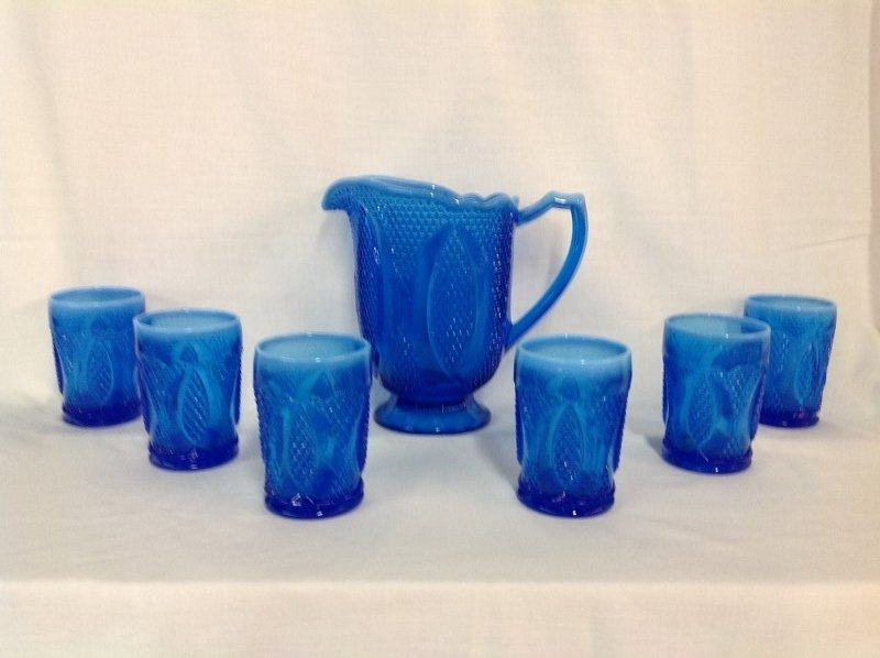 (Unmarked) Raised Blue Beaded Pattern Water Set
