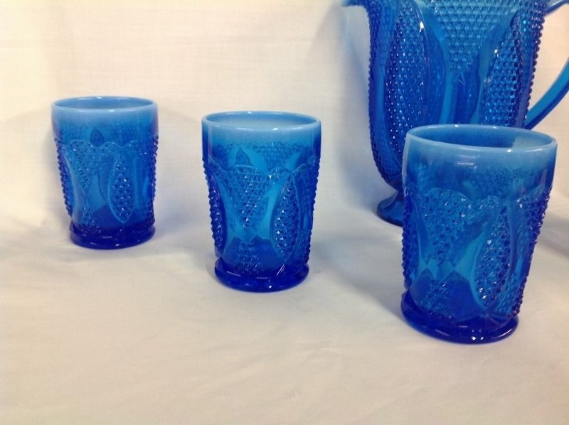 (Unmarked) Raised Blue Beaded Pattern Water Set - 2