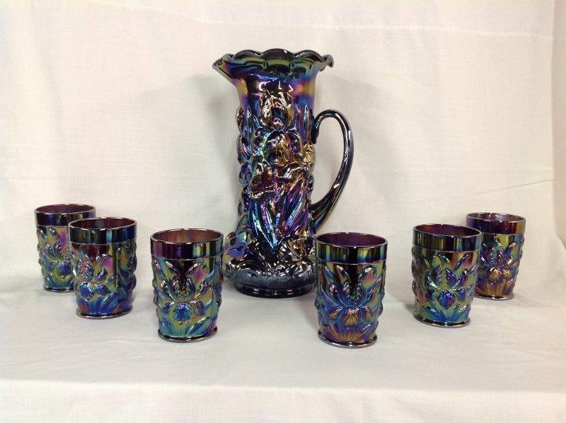 Iris Blue Iridescent Water Set