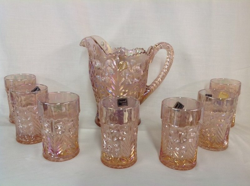 Imperial Glass Pink Dogwood Water Set