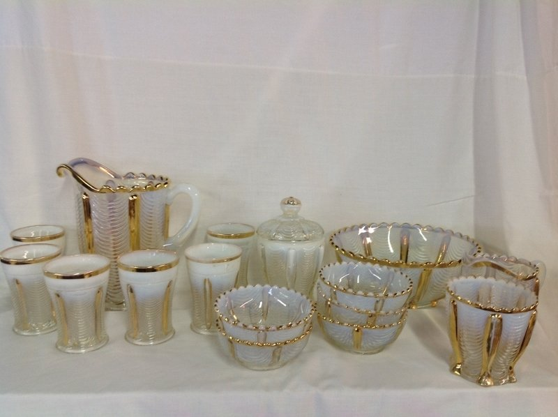 Northwood Gold Trim Opalescent Water Set and Bowl