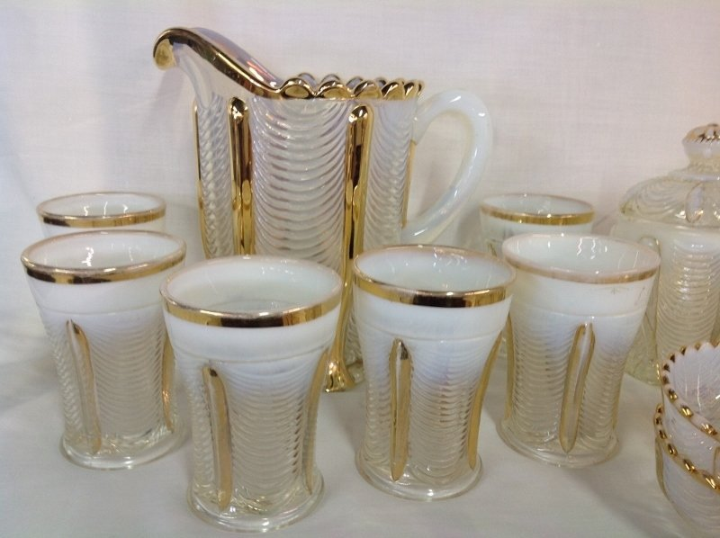 Northwood Gold Trim Opalescent Water Set and Bowl - 2