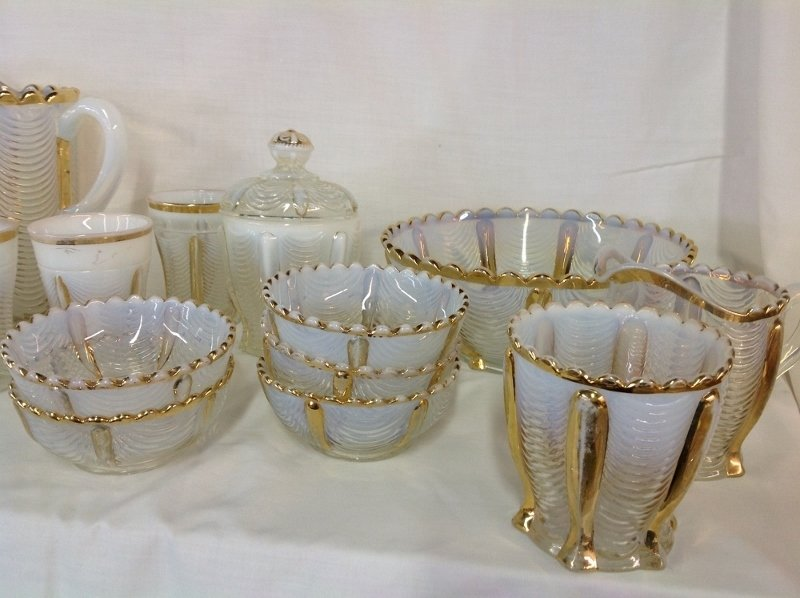 Northwood Gold Trim Opalescent Water Set and Bowl - 3