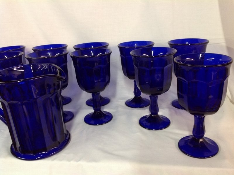 Cobalt Blue Water Pitcher 13 Goblets - 3