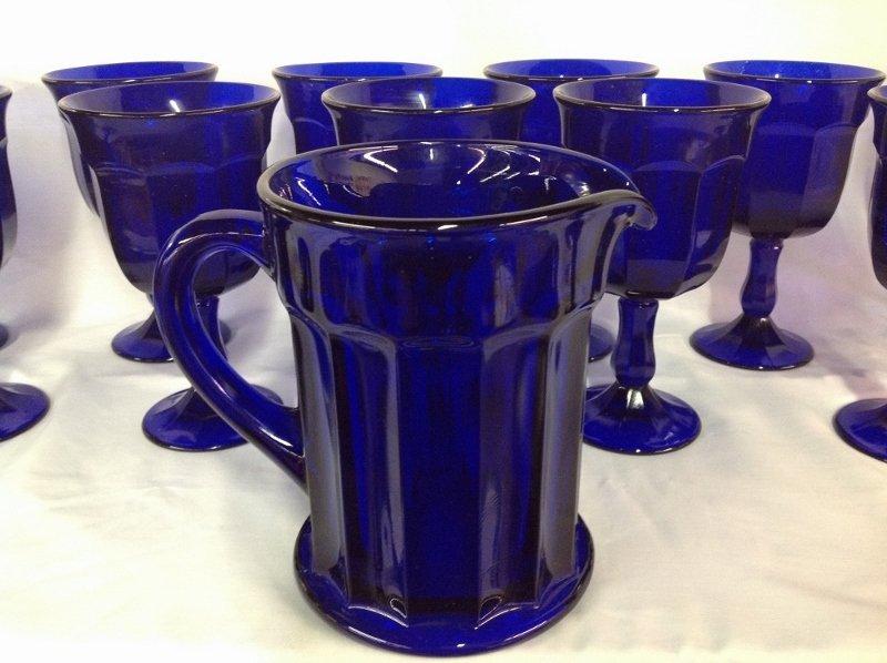 Cobalt Blue Water Pitcher 13 Goblets - 4