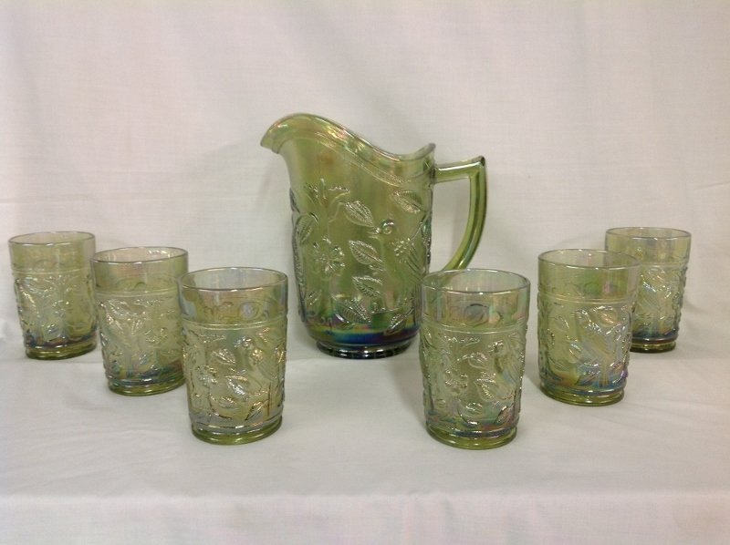 Imperial Glass Iridescent Green Parakeet Pattern Water