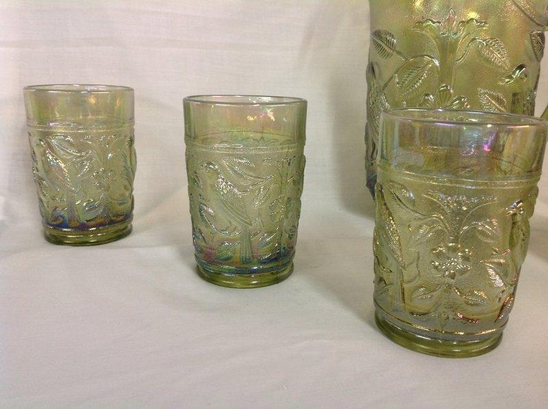 Imperial Glass Iridescent Green Parakeet Pattern Water - 2