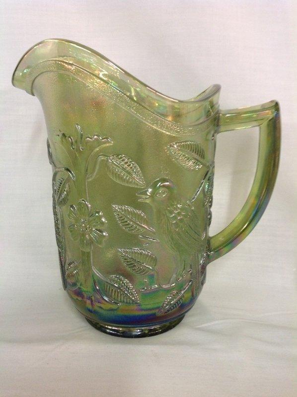 Imperial Glass Iridescent Green Parakeet Pattern Water - 3