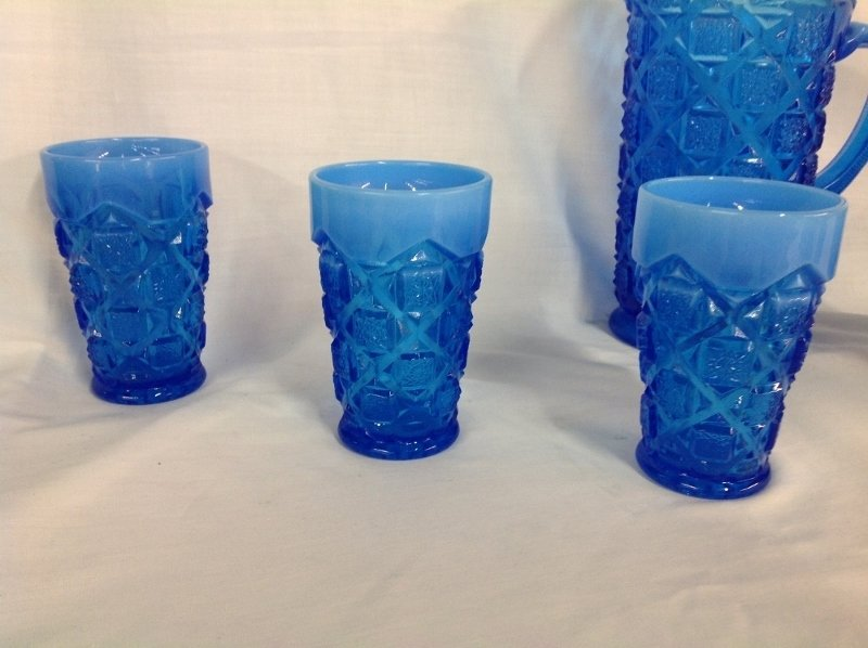 Westmoreland Blue Checkerboard Water Set with 6 Glasses - 2