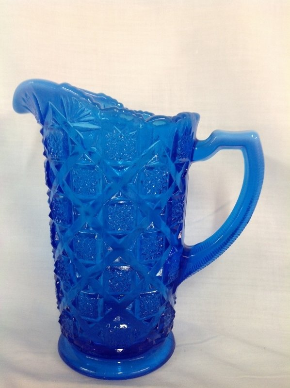 Westmoreland Blue Checkerboard Water Set with 6 Glasses - 3
