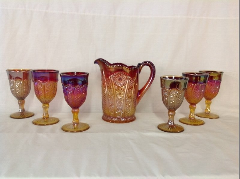 Unmarked Red Amber Pitcher and 6 Goblets