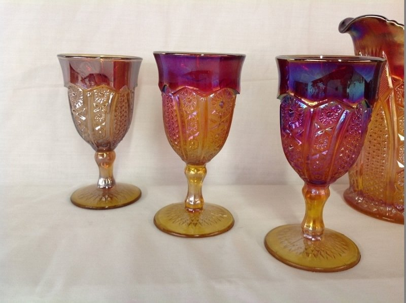 Unmarked Red Amber Pitcher and 6 Goblets - 2
