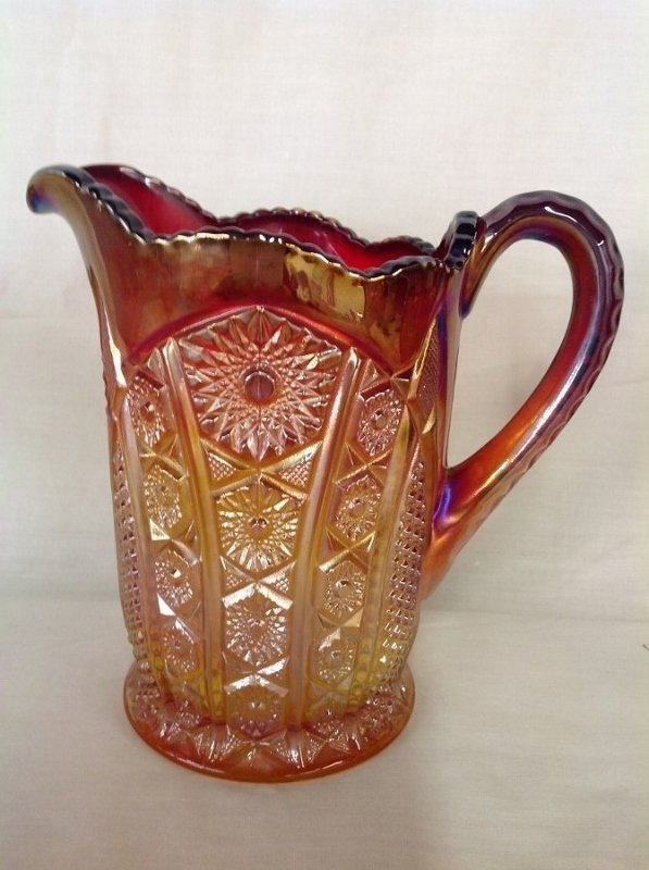 Unmarked Red Amber Pitcher and 6 Goblets - 3